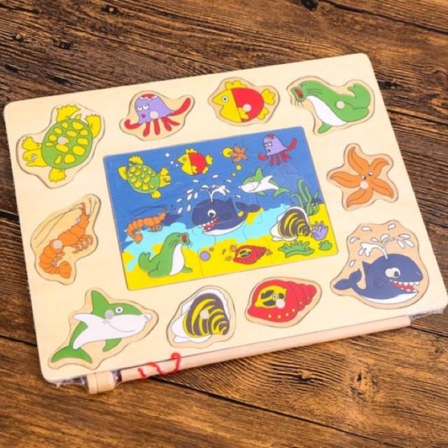 Đồ chơi bảng câu cá gỗ kèm ghép tranh cho bé