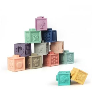 3D Embossed Soft Rubber Building Blocks Can Bite Baby Educational Toys