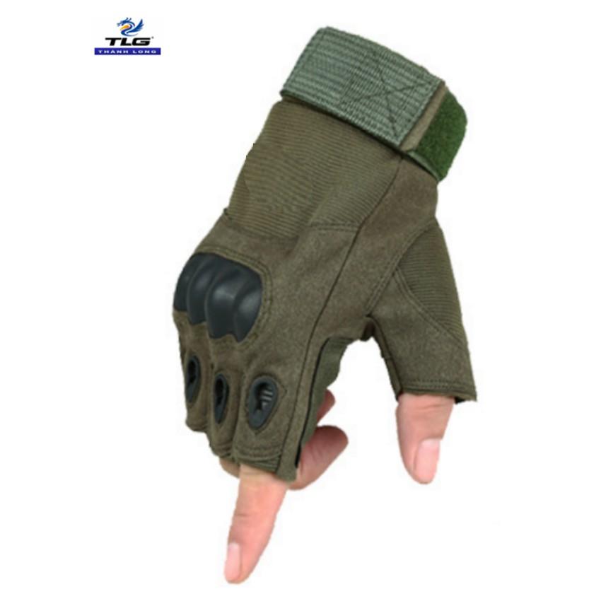 Găng tay hở ngón chiến thuật quân sự thể dục TLG 206215 (Xanh lính)