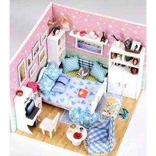 Mô hình nhà búp bê gỗ – Không gian phòng ngủ kết hợp màu xanh và hồng dành cho bé gái (N03-A)