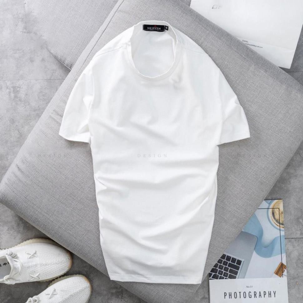 Áo thun nam trơn tay ngắn cổ tròn Hamino chất vải thun cotton co giãn 4 chiều cao cấp form rộng Hàn Quốc