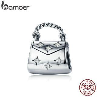 Hạt charm Bamoer hình túi xách bằng bạc 925 xinh xắn làm vòng tay dây chuyền cho nữ