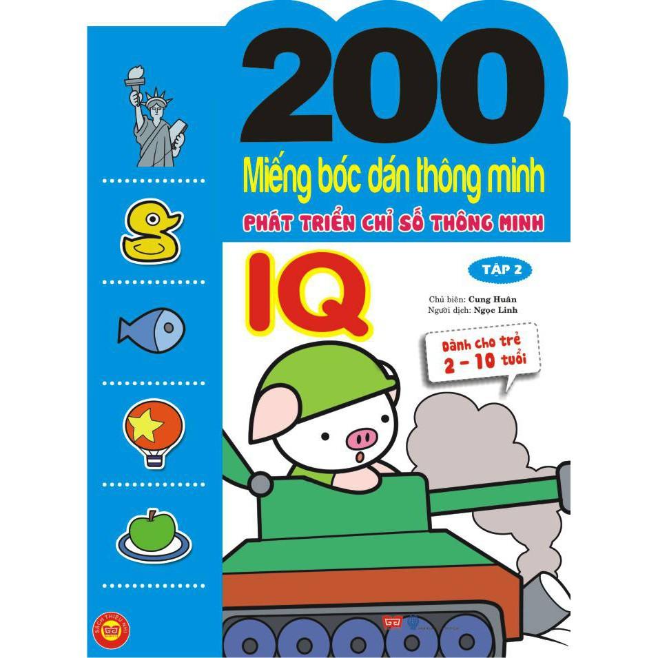 Sách - 200 Miếng bóc dán thông minh 2-10 tuổi - Phát triển chỉ số Thông minh IQ Tập 2