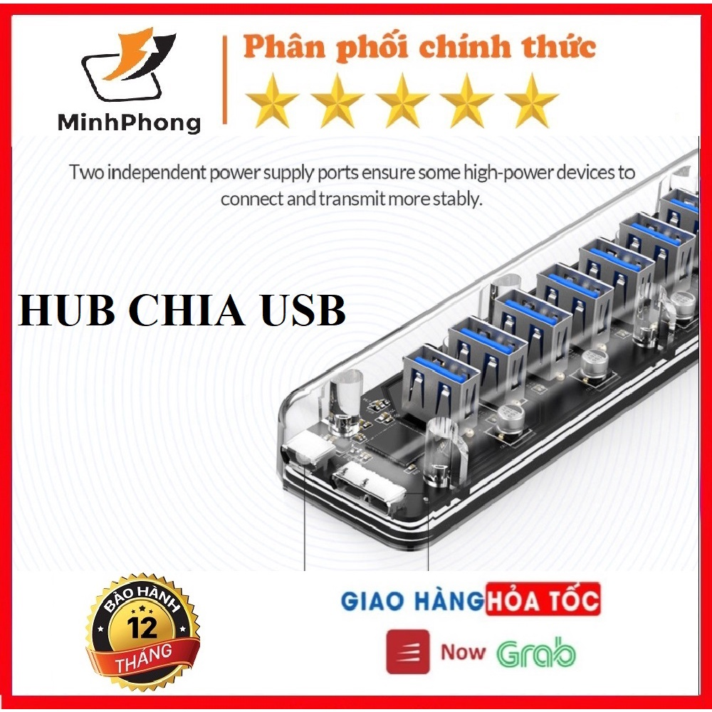 Hub chia USB 3.0 ORICO, UNITEK 4 cổng, 7 cổng trong suốt với nguồn kép - Hàng chính hãng