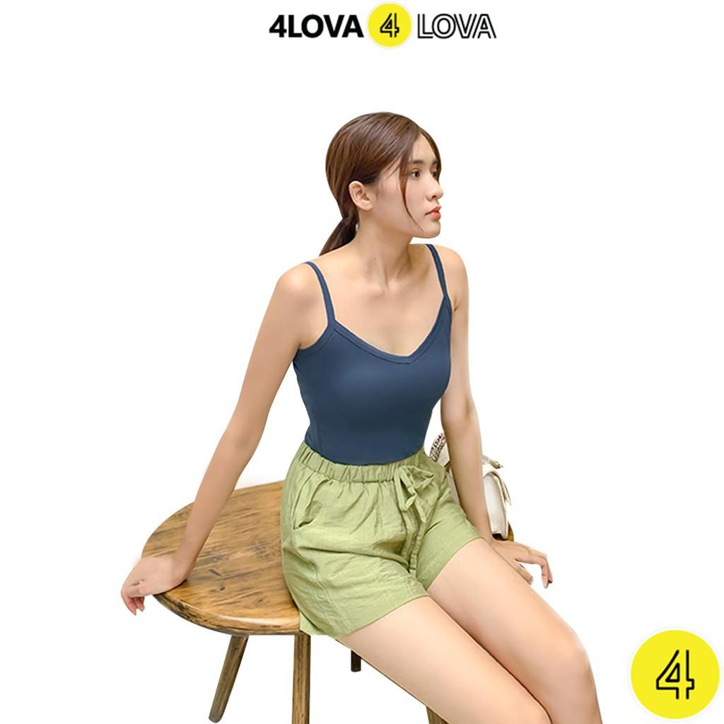 Áo 2 dây nữ cổ tim 4LOVA chất liệu thun 100% cotton dáng ôm mềm mại, quyến rũ