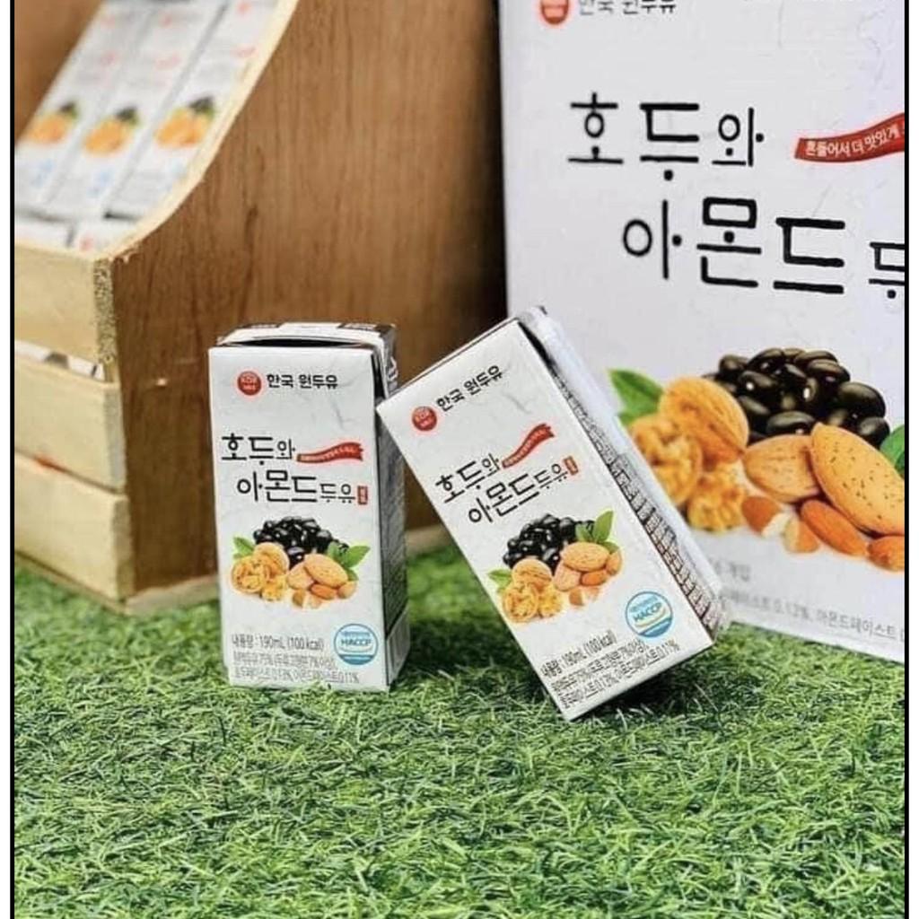 date 01/22) Sữa Óc chó Đậu đen Hạnh nhân Hàn Quốc 16 hộp 190ml | Shopee  Việt Nam