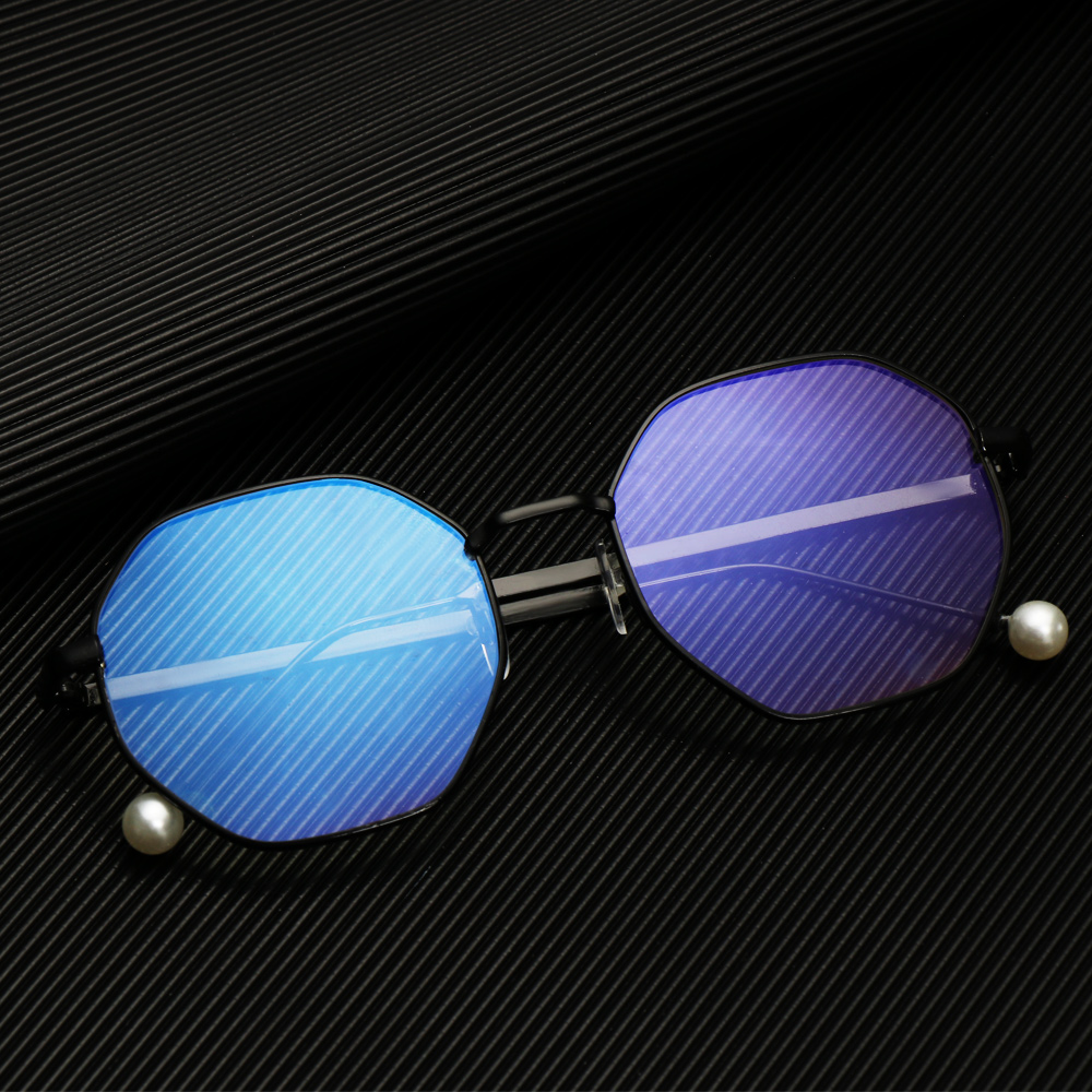 SUYOU Fashion Blue Light Blocking Eyewear Ultralight Eyeglasses Computer Gaming Glasses Vision Care Unisex Retro Radiation Protection Metal Frame