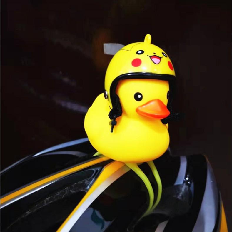 Vịt vàng đội mũ bảo hiểm - Vịt phát sáng đáng yêu - Vịt caosu treo xe