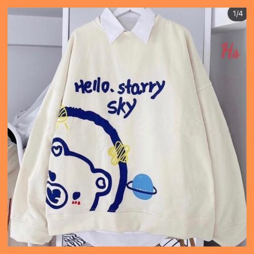 Áo sweater in gấu hello - HANHAN CLOTHINGS