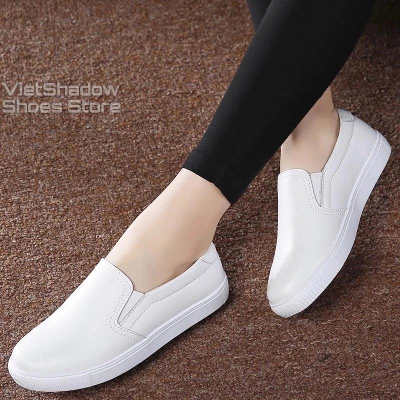 Slip on nữ da bò - Giày lười da nữ dáng classic - Chất liệu bò màu (đen) và (trắng) - Mã SP 301