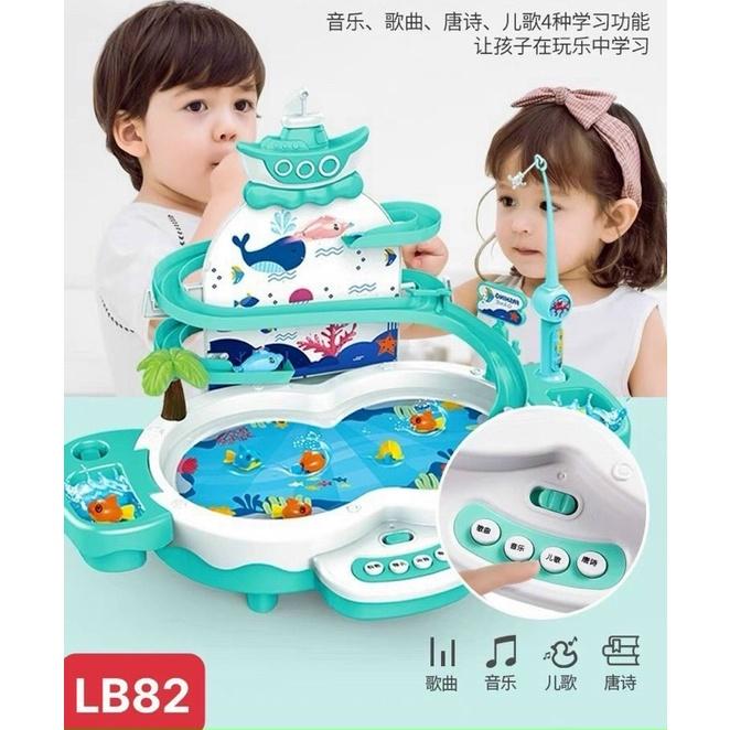 Bộ đồ chơi câu cá cầu trượt có thác nước phát nhạc âm thanh sinh động vui nhộn có dây sạc pin