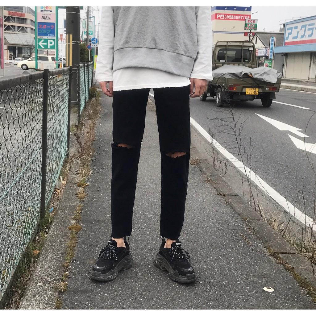 Quần Jeans Nam Xả Lai Rách Gối Hot Trend 2020 ( jean dày co giãn tốt)