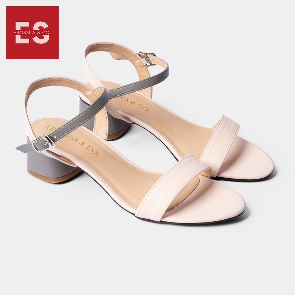 Giày sandal cao gót Erosska thời trang mũi tròn phối dây nhiều màu tinh tế cao 3cm màu xám phối kem - EB019