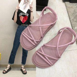 2E01 Dép sandal cao su quai chéo đan xen chu chu