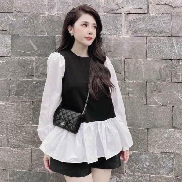 Áo baby doll phối màu đen trắng | Shopee Việt Nam