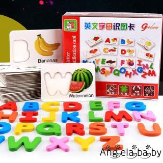 ⓗღ✯Wooden Letters and Fruit Vegetable Card Boards Jigsaw Learning Educational Toys for Toddlers