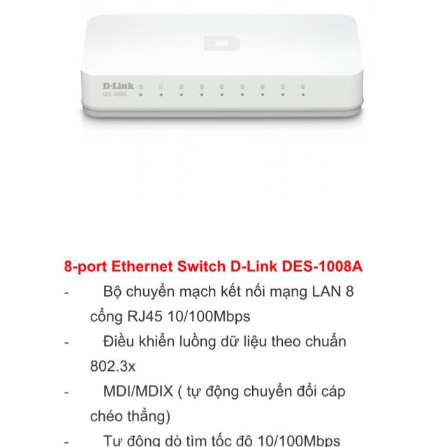 bộ chia 8 cổng mạng switch dlink DES 1008A