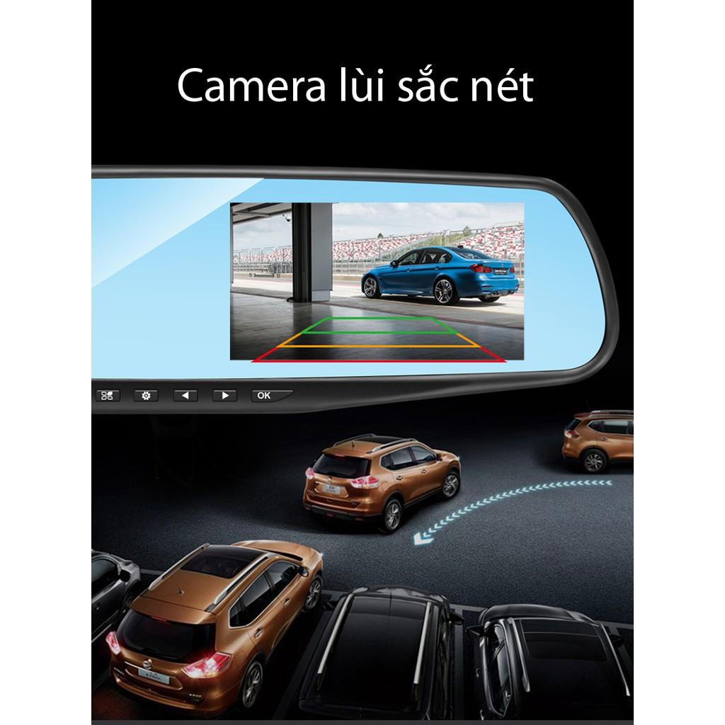 Camera hành trình trên gương tích hợp camera lùi 2 trong 1 đa năng