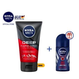 Sữa rửa mặt NIVEA MEN DEEP muối Himalaya ngừa mụn 100G tặng lăn khử mùi NIVEA MEN khô thoáng 25ML (88521 + 81617)