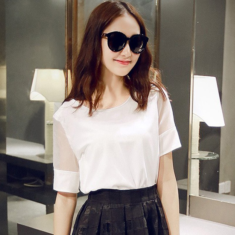 LV spring and summer new casual chiffon shirt fashion Korean version stitching w