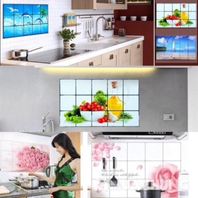 4 tờ giấy dán tường bếp Hàn Quốc 75 x 45cm ( giao hình ngẫu nhiên)