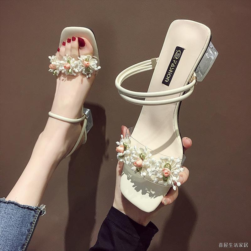 Giày Sandal Cao Gót Đính Hoa Thời Trang 2020 Cho Nữ