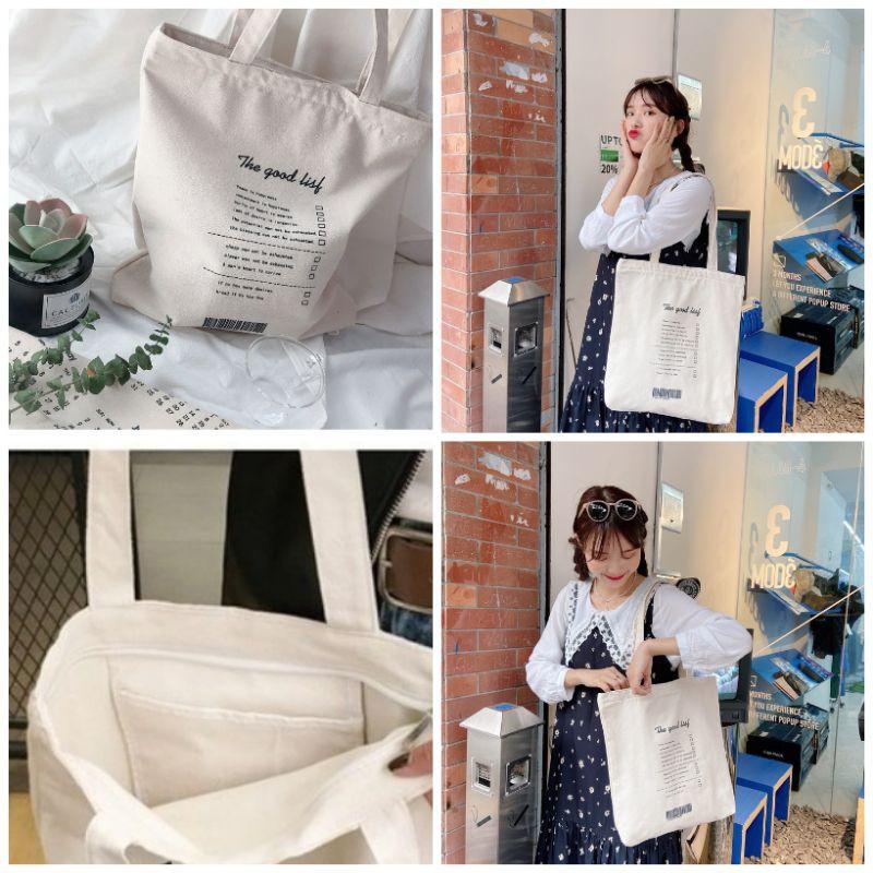 Túi vải Ullzang _Túi tote vải vanvas cao cấp in hình đẹp( có khóa miệng túi)