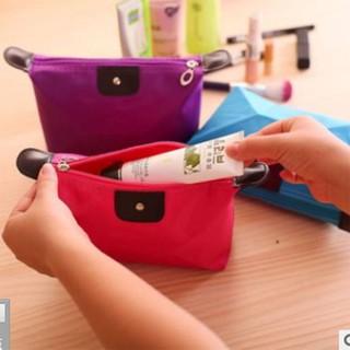 Túi đựng mỹ phẩm bằng da PU nhiều màu cao cấp bên ngoài ép vải canvas chống nước siêu bền sang trọng | bóp ví nữ cầm tay