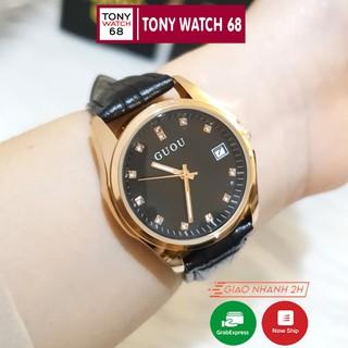 Đồng hồ nữ đeo tay dây da chính hãng Guou đẹp mặt số ngọc số đá thời trang giá rẻ thumbnail