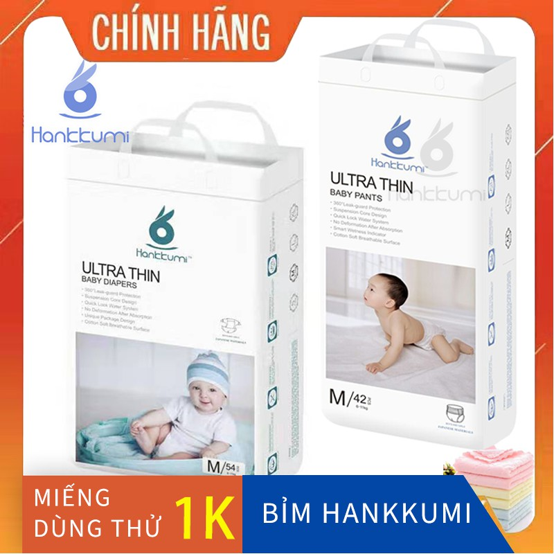 Bỉm Tã Quần Dán Hankkumi Sơ Sinh Cho Bé S62/M54/L50/XL46/M42/L40/XL38/XXL36 Khuyến Mại