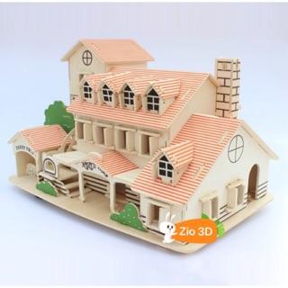 Đồ chơi lắp ráp gỗ 3D Mô hình Yili Holiday Villa