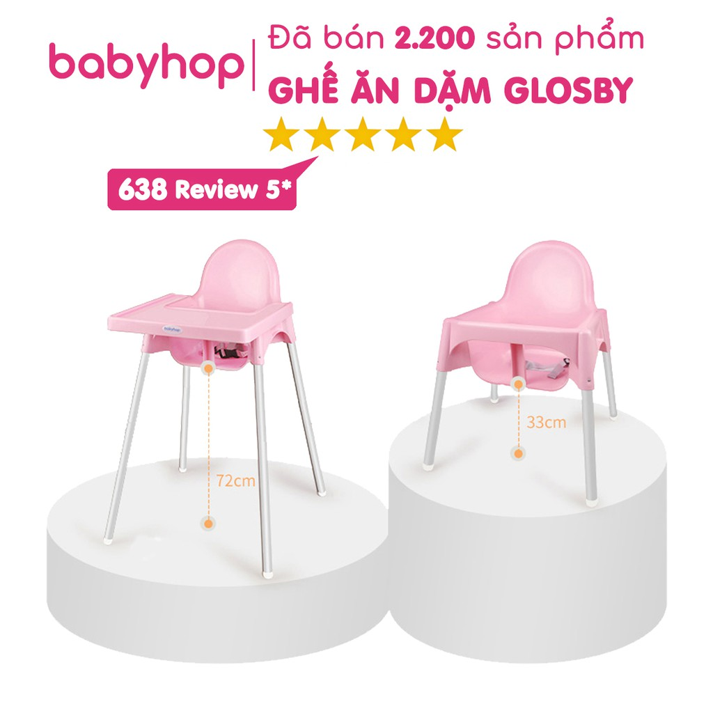 Ghế Ăn Dặm Cho Bé Glosby Babyhop kèm mặt bàn - ăn dặm kiểu nhật và BLW, 2 chế độ chân, cho bé từ 6 tháng