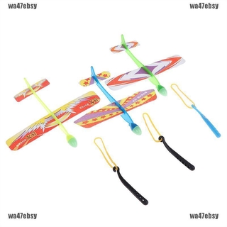 【wa47ebsy】Plastic foam elastic rubber powered flying plane kit aircraft toy