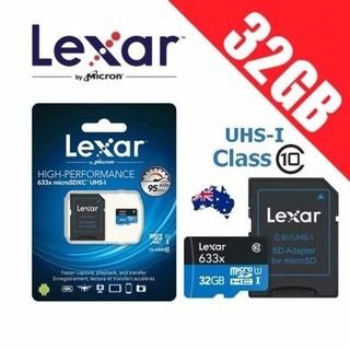 [Mã ELFLASH5 giảm 20K đơn 50K] Thẻ Nhớ MicroSDHC Lexar 32GB 95MB/s A1 V30 633x U1 - kèm Adapter (Xanh)