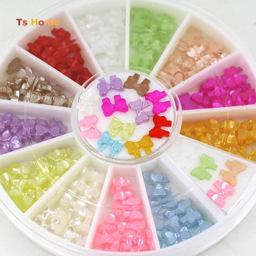 TS_Multicolor 3D Bow Knot Tie Stickers Studs DIY Nail Art Tips Decoration Wheel