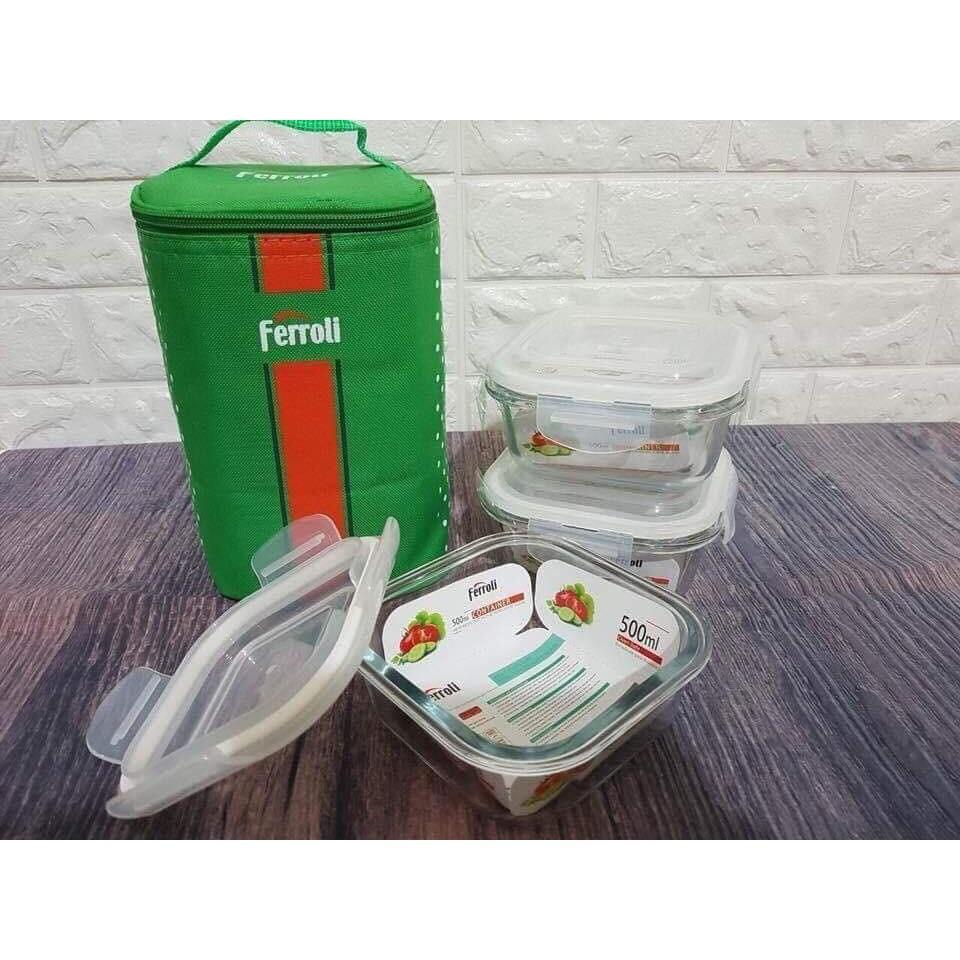 Sét 3 hôp thủy tinh 500ml có túi giữ nhiệt ferroli không bị đổ canh
