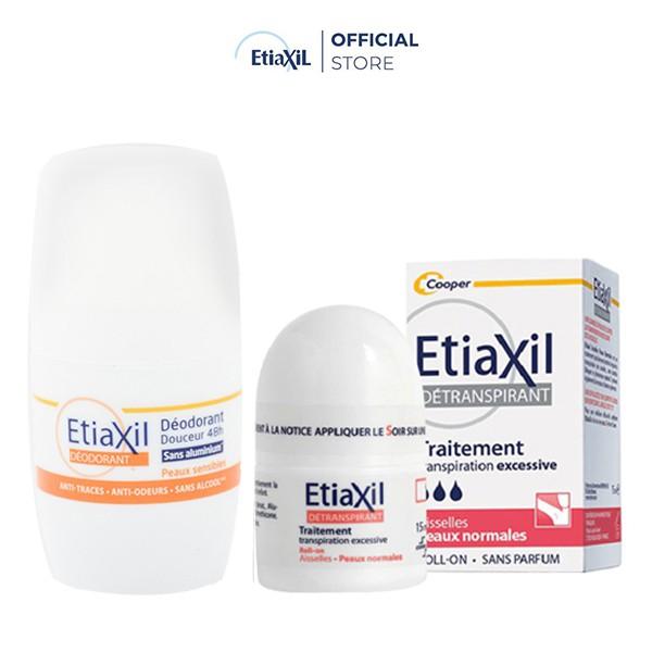 Combo Lăn Khử Mùi Etiaxil Dành Cho Da Thường 15ml (Màu đỏ) và Khử Mùi Etiaxil Dạng Lăn 50ml