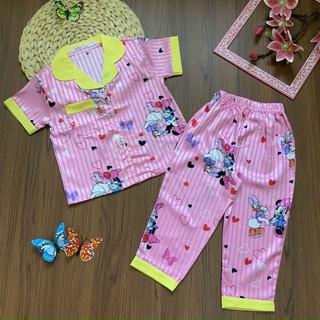 [LỤA GẤM] bộ pijama lụa gấm cao cấp bé gái 10-35kg