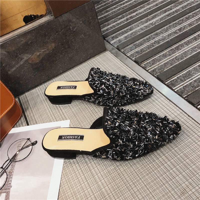 ✿Social lazy half slippers women's net red pointed 2019 new summer shoes fashion outside wearing hundred flat-bottomed