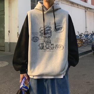 Áo Hoodie Tay Dài Giả Hai Lớp Form Rộng Phong Cách Hiphop