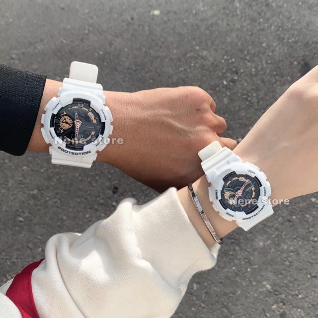 Đồng hồ nam, nữ HSET dây nhựa trắng mặt vàng đồng kiểu dáng thể thao