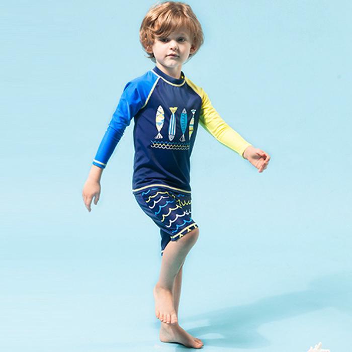 Bộ đồ bơi 2 mảnh dài tay chống nắng cho bé trai
