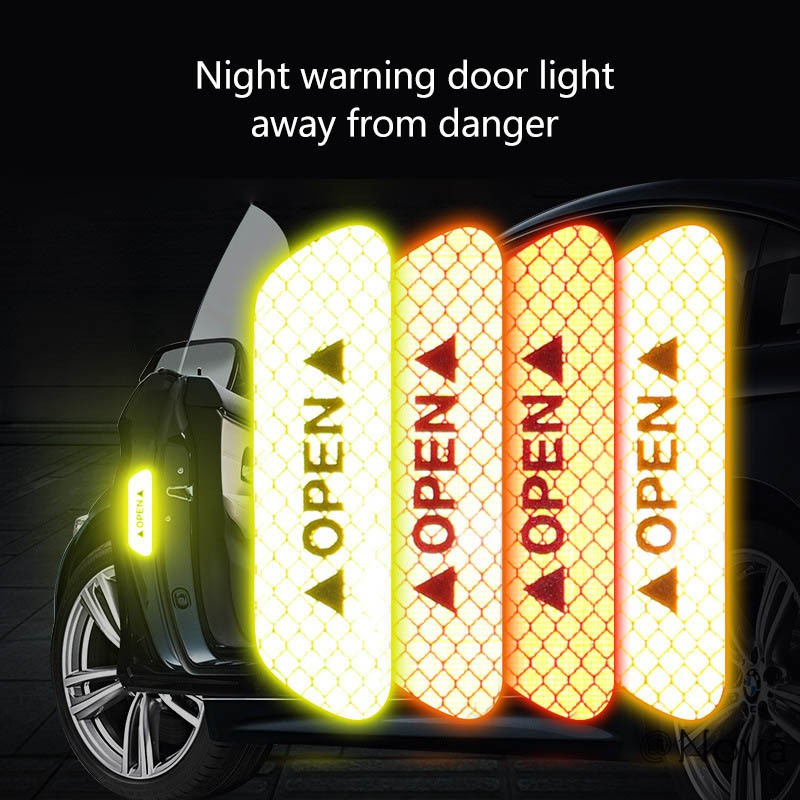 Car Door Stickers Warning Mark Reflective Tape Auto Exterior Accessories OPEN Sign Safety Reflective