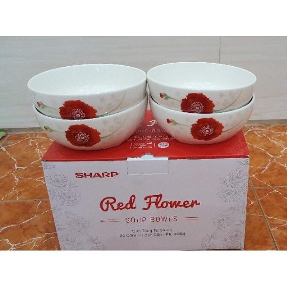 Bộ 4 tô sứ Hoa đỏ Donghwa Sharp