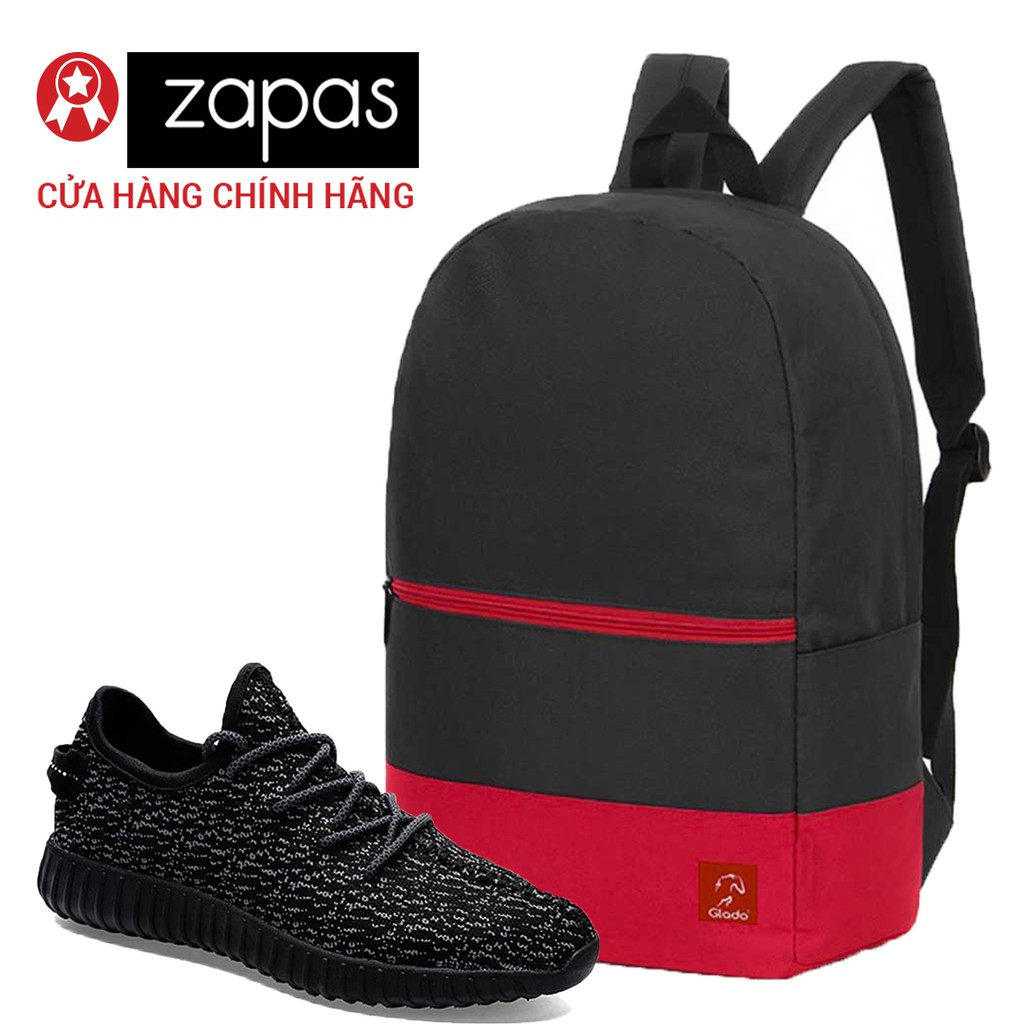 Combo Balo Du Lịch Glado Classical BLL007 (Đen Phối Đỏ) Và Giày Sneaker Thể Thao Zapas (Màu Đen-Trắ