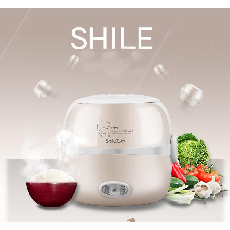 Hộp cơm điện 2 tầng inox Shile xinh xắn đa năng nấu cơm, nấu mì, hâm nóng đồ ăn (Tặng túi đựng cao cấp)