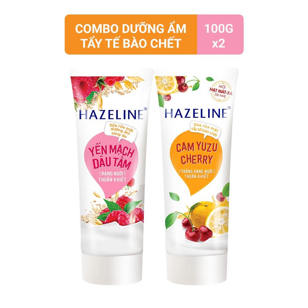 Combo Sữa rửa mặt tẩy tế bào chết Hazeline Cam Yuzu Cherry 100g và Sữa rửa mặt dưỡng ẩm Hazeline yến mạch dâu tằm