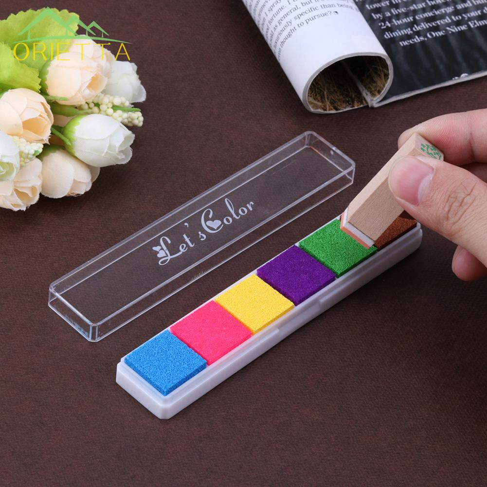 orietta♛ 6 Colors Fingerprint Inkpad DIY Scrapbooking Colorful Ink Pad Stamp Decor