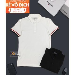 FREESHIP TOÀN QUỐC Áo polo THOM BROWNE áo thun có cổ bẻ made in KOREA 100% cotton 2 màu đen trắng (TỔNG KHO GIÁ SỈ))