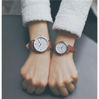 Đồng hồ nam nữ Ulzzang mặt tròn dây da hàng chính hãng thumbnail
